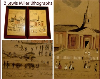 """American Folk Artist Lewis Miller. Scarce Framed Lithographs. Charming Images of Christianburg VA Court House, Church & Jail. Two 8 by 10"""""""