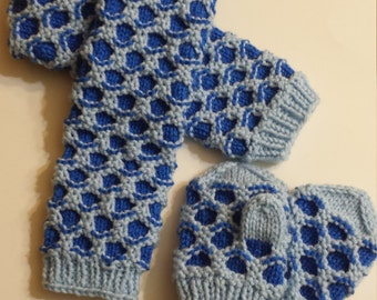 Handmade Knit Childrens Honeycomb Scarf and Mittens set 12 to 24 months