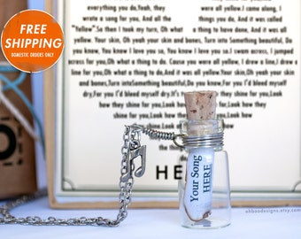 Personalized Song Necklace - Bottle Song Necklace Anniversary Gift - Music Necklace Gift - Cute Custom Jewelry - Gift Wrapped - Ships Fast!