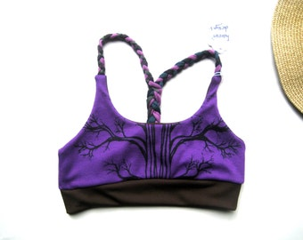 TREE Purple Bralette. Braided Sports Bra. Cute Yoga Bralette. Strappy Bralette. Tree of Life Bra. Flexible Sport Bralette. Tree Sports Bra.