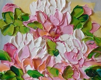 Oil Painting ,  Original art ,  Impasto ,  Pink Peony ,  Painting ,  Fine Art
