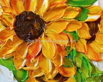Oil Painting , sunflower , Impasto Painting