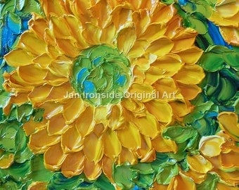 Impasto painting , Painting Original , Sunflower, Canvas , palette knife