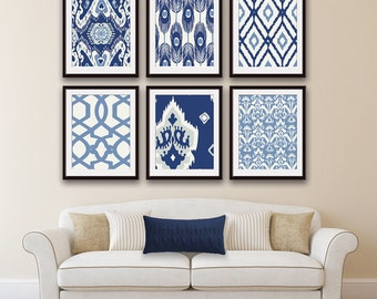 Ikat and Geometric Patterns (Series G2) Set of 6 - Art Prints (Featured in Shades of Deep Blue ) Navy Blue Ikat Wall Art