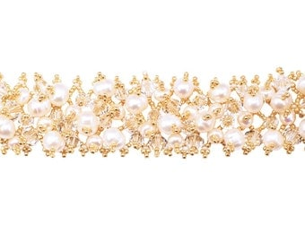 Gold, White freshwater Pearl and Swarovski Crystal Lattice Bracelet