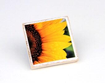 Wooden Magnet, Sunflower, Floral Decor, Yellow,  2X2 Square, Fridge Magnet