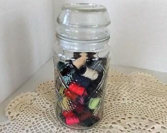 Jar of 75 Mini Thread Spools, Sewing Room Decor, Colored Thread, Craft Room Decor
