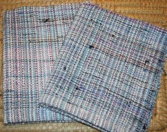 Handwoven Eco-Friendly Hand Towels - Cotton Kitchen Towels in Light Blue