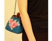 Wool felt bag with flowers ,100% handmade,