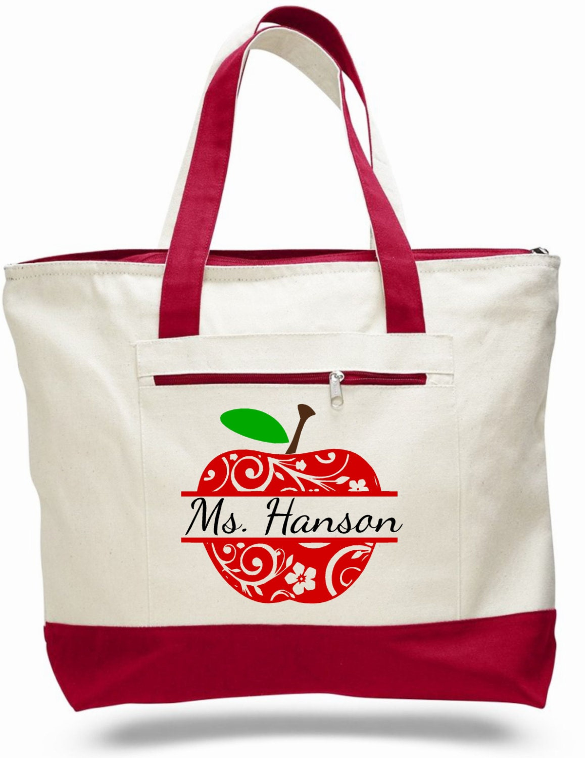 Teacher bag teacher tote apple bag personalized by ...