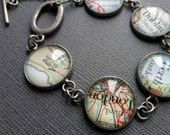 Personalized Jewelry, Vintage Map Bracelet, Custom Jewellery