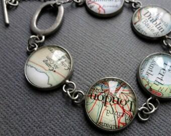 Personalized Jewelry, Vintage Map Bracelet, Custom Jewellery, Bride Gift, Spring Wedding Gift, Bridesmaid Gift