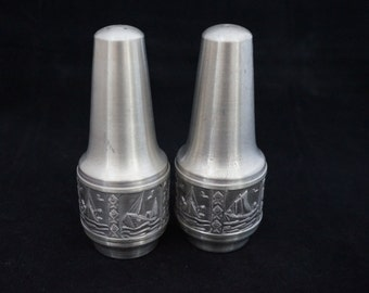 Mid Century Mod Norway Pewter Ships Salt and Pepper Shakers