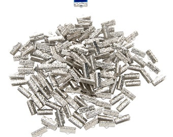 500 pcs. - 16mm or 5/8 inch Platinum Silver Ribbon Clamps - Artisan Series