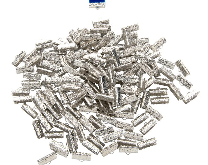 500 pieces  16mm (5/8 inch)  Platinum Silver Ribbon Clamp End Crimps - Artisan Series