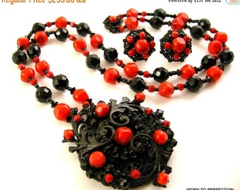 30% Off Sale Miriam Haskell Necklace and Earrings Black and Red Glass Beads 1960s