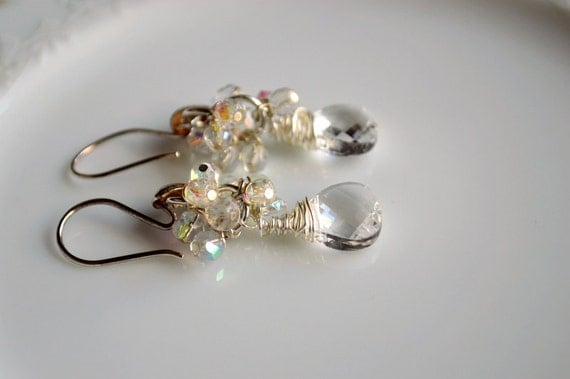 Crystal and sterling silver wire wrapped earrings, wedding jewelry, bridal jewelry, wedding earrings, wedding chandelier, bling earrings