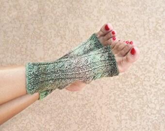 Yoga socks hand knit grey green shades toeless socks pilates socks Christmas gift