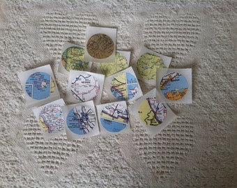 vintage map round stickers or seals; set of 12 vintage map round stickers