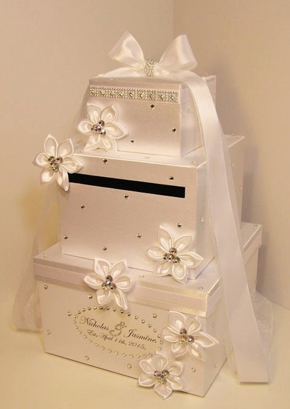 Wedding Card Box White Gift Card Box Money Card Holder-Customize your color