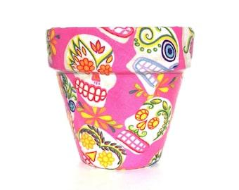 Pink Mexican Sugar Skulls Flower Pot (Small)