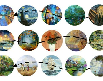 Famous Paintings - 1 inch circles