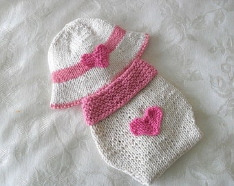 Hand Knitted Valentine Baby HAT and  DIAPER COVER Brimmed knitted baby hat Newborn Knitted Baby Hat Knitting Knit Baby Hat