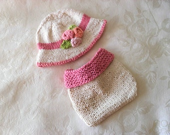Hand Knitted Baby HAT and  DIAPER COVER Brimmed Flower Hat and Matching Diaper Cover knitted baby clothes Newborn Knitted Baby Hat Knitting