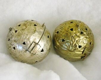 Pair Vintage Dept 56 Metal Potpourri Hanging Balls, Pierced Ornamental Globe, Metal Container,