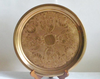 Vintage Copper Serving Tray, Decorative Round Barware Tray Floral Shell Design,