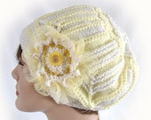 Woman's Yellow and White Hat Women's Winter Hat Modular Knit Hat Girl's Winter Hat Woman's White and Yellow Knit Hat Knit Winter Cloche Hat