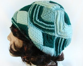 Women's Winter Hat Woman's Module Knit Hat Teal and Green Knit Hat Kaliedoscope Knit Hat Zig Zag Knit Hat Woman's Knit Hat Knit Women's Hat