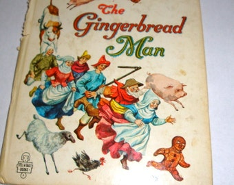 Vintage Children's Book, The Gingerbread Man, Illustrated Child's Story, Tell A Tales Whitman Publishing, Mid Century, 1963  (198-16)