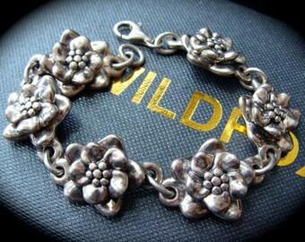 1980s Puffed Marked 925 STERLING Silver Vintage Flowers Floral Bracelet OOAK
