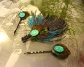 Stunning Turquoise Druzy Feather Hair Clips, Set of 3