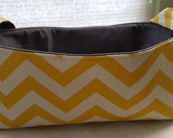 Long Diaper Caddy Storage Container Basket Fabric Organizer Bin - Nursery Decor - Chevron Yellow Zig Zag