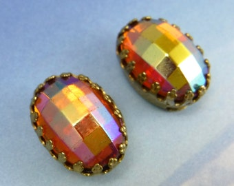 Vintage Glass Cabochons Gold Crown Settings Matera Topaz AB Stones S-441