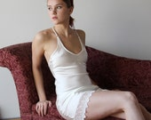 stretch silk bias slip chemise nightgown with embroidered lace trim - ALICE charmeuse with spandex bridal range - made to order