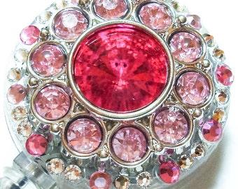 Magenta and Light Pink Rhinestone and Swarovski Crystal Embellished ID Badge Reel
