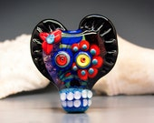 Michou Pascale Anderson -Sugar Skull / Day of Dad lampwork focal bead / including my signature and sparkling dichroic