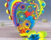 Funky Heart with Soul -  Modern Art Glass - Lampwork - Focal Bead - Unique, Statement Designs by Michou P. Anderson