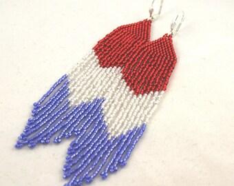 Long Beaded Fringe Earrings . Patriotic USA Jewelry . Red, White and Blue . Seed Bead Earrings . Beaded Earrings