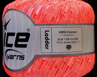 ice ladder ribbon yarn trellis Phosphoric Orange 1 skein knitting crochet daily bulky chunky 31513