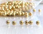 Smooth Round Gold Plated Metal Beads 4mm 50 Metal Brass