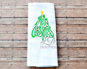 Merry Christmas kitchen Towels, Embroidered Christmas Tree kitchen towels Christmas Hand towels , Towels
