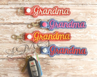 Grandma Key chain, Fob Embroidered Snap Tab,  Grandma Key Fob, Embroidered Snap Tab, Mothers Day gift