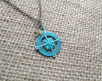Turquoise Compass Necklace. Swallow. Nautical Necklace. Sparrow. Nautical Jewelry. Bird. Bronze. Brass. Vintage Inspired. Travel.