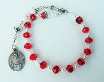 Red and White St. Barbara Prayer Chaplet Rosary- Patron of Artillery, Gunsmiths, Thunder and Lightning
