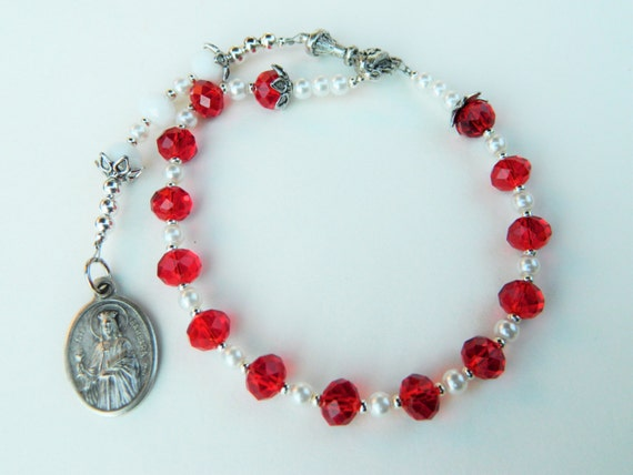 Red and White St. Barbara Prayer Chaplet Rosary- Patron of Artillery, Gunsmiths, Thunder and Lightning