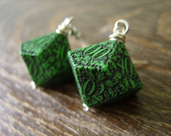 D100 earrings forest dice earrings die green dice jewelry pathfinder dice dungeons and dragons